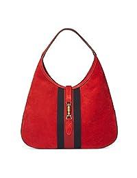Gucci 红色柔软麂皮网条纹夹克单肩休闲包