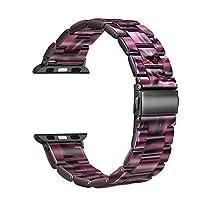 Fintie 蘋果手表表帶 42 毫米 44 毫米,高級樹脂表帶 iWatch 替換腕帶金屬扣 適用于 Apple Watch 系列 4 系列 3 系列 2 系列 1 系列 1 運動版 紫色
