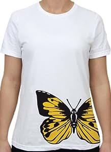 Barn Eleven Yellow Butterfly Missy T-Shirt, White 白色 中