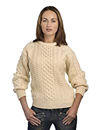 Aran Crafts 传统阿兰圆领毛衣(* 纯全新羊毛)山毛,防滑,黑表颜色