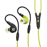 MEE-audio M7P-GN入耳式运动耳机 强劲低音 记忆耳挂 线控麦克风 纳米防水 荧光黄