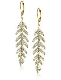 18K 镀金纯银钻石 Accent 羽毛叶子吊坠耳环(1/10cttw , I-J 色, I2-I3净度)