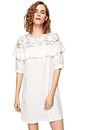 floerns 女式花卉蕾丝肩膀珍珠钉珠荷叶边复古连衣裙