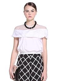 Five Plus 女式 棉质拼接欧根纱宽松短袖薄衬衫 2HL2014010