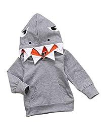 BANGELY 男婴女孩 3D 卡通鲨鱼连帽运动衫秋冬休闲长袖套头上衣万圣节衬衫