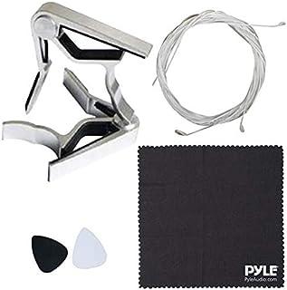 Pyle 4 经典吉他配件套件 - 尼龙弦,全套替换件,银色卡波,带 3 件。ABS 拨片和清洁布,双手通用(PRTPGACLS821010)