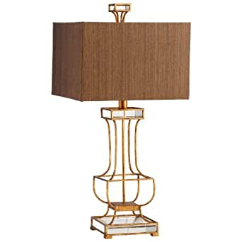 Cyan Designs 05203 Table Lamp with Acrylic Gold Fabric Shades, Gold Leaf Finish