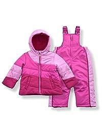 Arctic Quest 婴幼儿女童羽绒滑雪夹克和雪地围兜防雪服套装