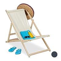 Relaxdays 躺椅,木制沙滩躺椅,带织物套,可折叠和可调节,花园,沙滩和阳台,颜色选择 10028067_127