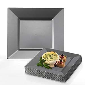 "kaya 系列–塑料方形10和8英寸盘子–一次性或可重复使用 银色 8"" Salad/Dessert Plate (120 Count)"