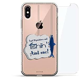 豪华设计师,3D 印花,时尚气袋垫,360 度玻璃保护套装手机壳 iPhoneLUX-IXAIR360-FISH2 99 Problems Fishing Quote 透明