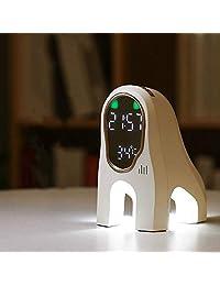动物造型闹钟小夜灯 智能拍拍感应 充电款音乐台灯 定时自然唤醒多功能 (白色款)