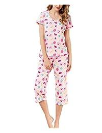 女式睡衣套装睡衣上衣,七分裤,休闲有趣印花睡衣套装 Pink Fruits Large