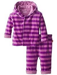 壮丽 baby 婴儿女孩粉色薰衣草丝绒连帽衫和裤子