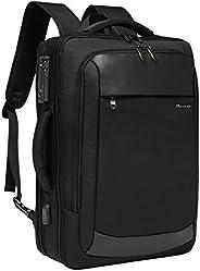 旅行笔记本电脑背包,Modoker TSA 友好型商务手提包带锁可转换背包男式带USB充电端口,多功能旅行工作防盗背包书包,黑色