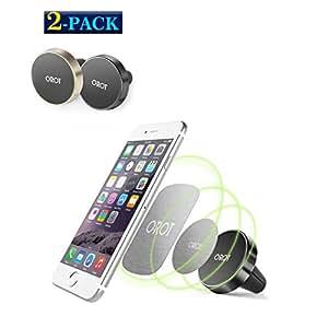 车载支架2件装 orot 风口磁性手机支架带强磁铁适用于 iPhone 三星 Android 智能手机 GPS 等 Black & Gold