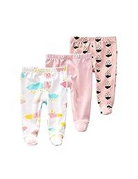 Teach Leanbh 新生儿婴儿 3 件装连脚裤棉质刺绣印花休闲打底裤 0-12 个月