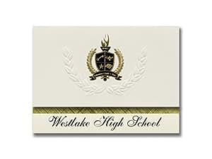 签名公告 Westlake 高中(威斯湖,俄亥俄州)毕业公告,总统风格,25 片精英包装带金色和黑色金属箔封条