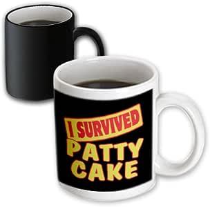 3drose dooni 设计生存标语–I survived Patty 蛋糕生存骄傲和幽默设计–马克杯 黑色/白色 11 oz