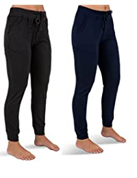 Sexy Basics 女式 2 条装瑜伽运动服慢跑七分裤短款运动休闲裤