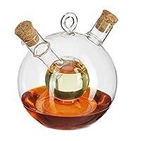 Relaxdays 10027668 油瓶,2合1,油瓶,带软木,醋和油,一体化,375 毫升和50 毫升,玻璃,透明