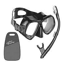 专业*管套装 - 防雾,钢化玻璃*管面罩 - 清晰视角水肺潜水 - 轻松* - 无泄漏*管套件 + 手提袋