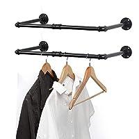 LIANTRAL 壁挂式衣架 23.6英寸(约59.6厘米)两件套 工业风衣衣架 衣架 衣架 多用途衣杆 衣柜收纳 洗衣房