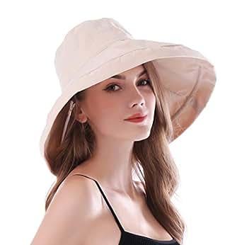 iHomey 女式宽边遮阳帽可折叠 UPF 50+ *渔夫帽 米色 One Size