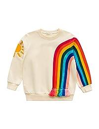 多彩童年女童运动衫婴儿长袖彩虹图案印花套头衫儿童条纹上衣外套