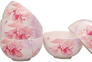 HUAGUANG 华光陶瓷 高温釉中彩骨瓷碗套装餐具 8只米饭碗+2只面碗花好月圆