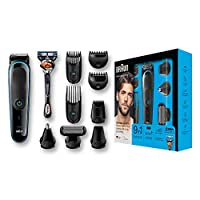 Braun 9-in-1 All-in-One Trimmer MGK5080 Beard Trimmer and Hair Clipper, Body Groomer, Ear and Nose Hair Trimmer, Detail Trimmer Attachment, Black/Blue