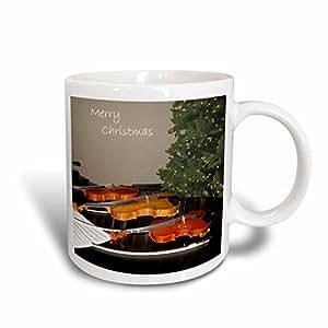 3dRose Merry Christmas Tree and Violins Ceramic Mug, 11-Ounce
