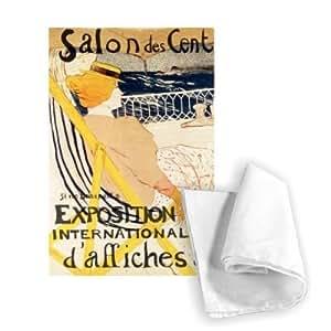 """Art247 WABAL8287TT 印花茶毛巾 - 46 x 70 cm * 纯棉,广告""""Affiches"""",巴黎,c.1896(彩色litho)Henri de Toulouse Lautrec"""
