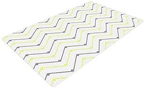 Kess InHouse CarolLynn Tice Witty 黄色灰色编织浴垫,60.96 x 91.44 厘米