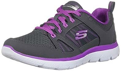 Skechers Summits-New World 女士运动鞋 Charcoal/Purple 7.5