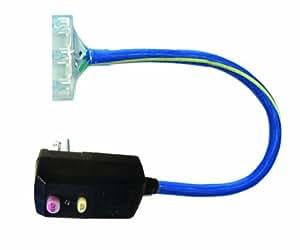 Voltec 04-00101 12/3 SJTW 15 Amp GFCI 直角电源块适配器带照明端,2 英尺,蓝色带黄色条纹