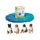 尿布替换袋 35 个装一盒婴儿洗澡带扔掉无忧蓝色袋*环,1050 个装一次性按扣密封尿布桶衬垫,完全兼容手臂和锤子处理(35 个袋)
