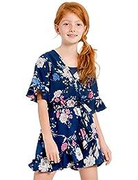 Truly Me 大女孩刺绣印花纯色褶皱连体衣长袖和衬衣
