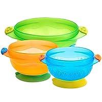 美国 Munchkin 满趣健 经典款餐具 吸盘碗 宝宝辅食碗 五彩缤纷3个装MK49003