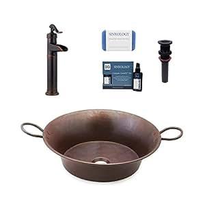 Sinkology SB303-21AG-F040-AMZ Copernicus 53.34 厘米容器铜浴室水槽净化器 Ashfield 水龙头和排水浴室一体套件,老化