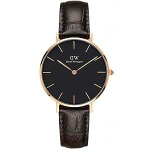 DanielWellington手表DW女表32mm金色边黑盘皮带女士手表 DW00100170(瑞典品牌 )