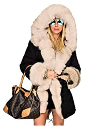 Aofur 女式冬季连帽衫大衣人造毛皮长款风衣派克休闲奢华外套夹克加大码 S-3XL