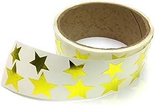 金属箔星形贴纸,各种尺寸,9.53 厘米和 2.54 厘米 - 每卷 476 个标签,卷上带有穿孔,每 10 个标签后 金色