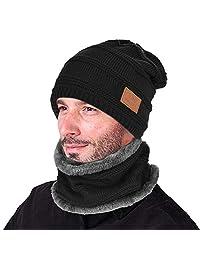 VBIGER 2 件套冬季无檐小便帽围巾套装保暖针织帽厚针织骷髅帽男女通用