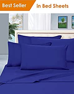 MattRest® 奢华柔滑 1800 系列高级系列 - 防皱 4 件套床单套件,袋深 40.64 cm,亚马逊畅销床单套装! * HypoAllergenic 无皱床单套装、羽绒被套和枕套 皇家蓝 King COMIN18JU024608