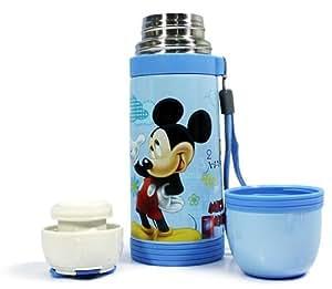 迪士尼保温杯真空不锈钢学生杯 手拎防漏保温水壶350ml/500ml 蓝色米奇 (5678(500ML))