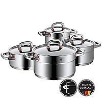 WMF 鍋具組合四件套 煎鍋 燉鍋 Premium One 內部刻度 蒸汽口 德國制造 Cool+ 技術 金屬蓋 Cromargan 不銹鋼 抗銹 拋光 感應式 可于洗碗機中清洗