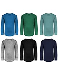 男孩/幼儿 6 件装运动性能长袖内衣上衣/打底棉弹力衬衫