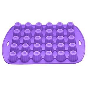 Bakerpan 硅胶巧克力模具,30 个小鸡,果冻糖糖果模具,花形 紫色 02025