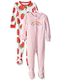 Carter's 女婴 2 件装棉质连脚睡衣